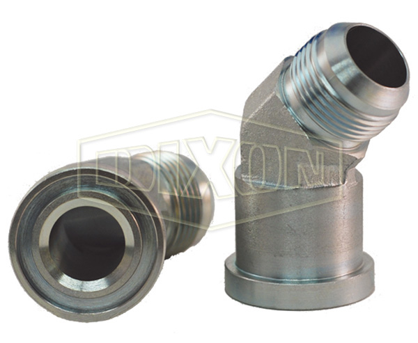 45° Flange Elbow x Male JIC Hydraulic Adapter