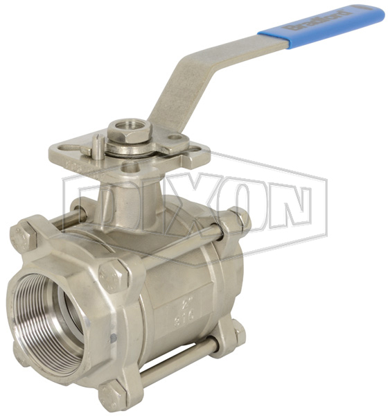 3 Piece Industrial Stainless Steel Ball Valve FNPT