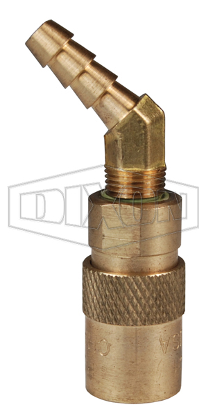DQC CM-Series Industrial Mold Interchange Unvalved Coupler 45° Hose Barb