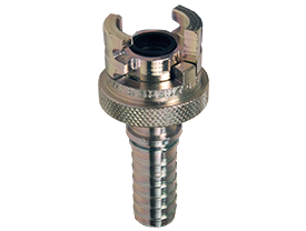 Dual-Lock P-Series Thor Interchange Hose Barb Coupler with Knurled Flanged Sleeve
