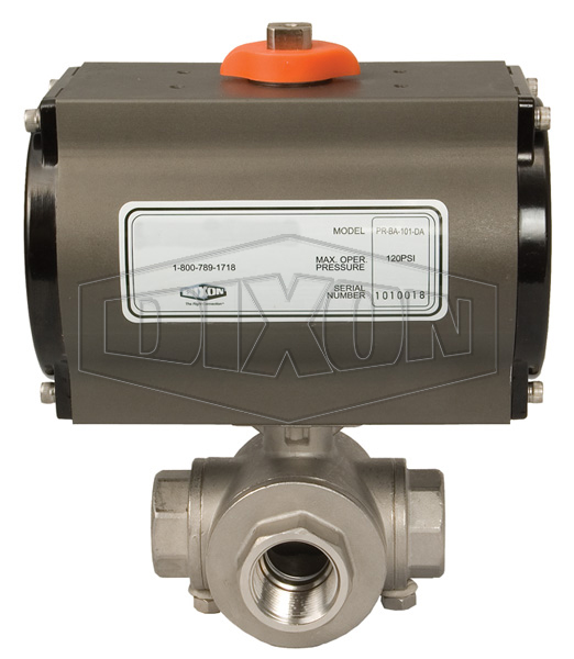 BV3IGL/TF Series Pneumatically Actuated Stainless Steel 3-Way Ball Valves