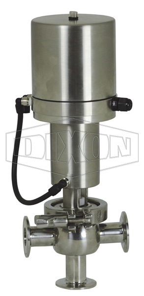 SV-Series Single Seat Hygienic Valve T Body Pneumatic Actuator Spring Return Air to Lower, Basic Control Top