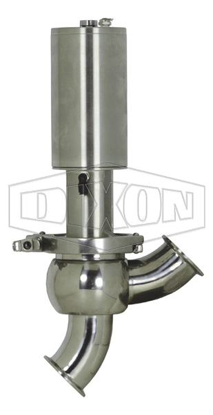 SV-Series Single Seat Hygienic Valve Y Body Pneumatic Actuator Spring Return Air to Lower
