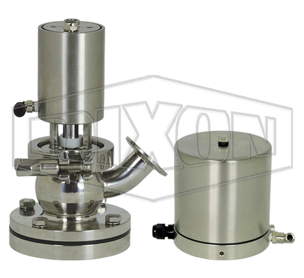 SV-Series Single Seat Hygienic Valve Tank Body Up to Open Pneumatic Actuator Spring Return Air to Lower, Basic Control Top