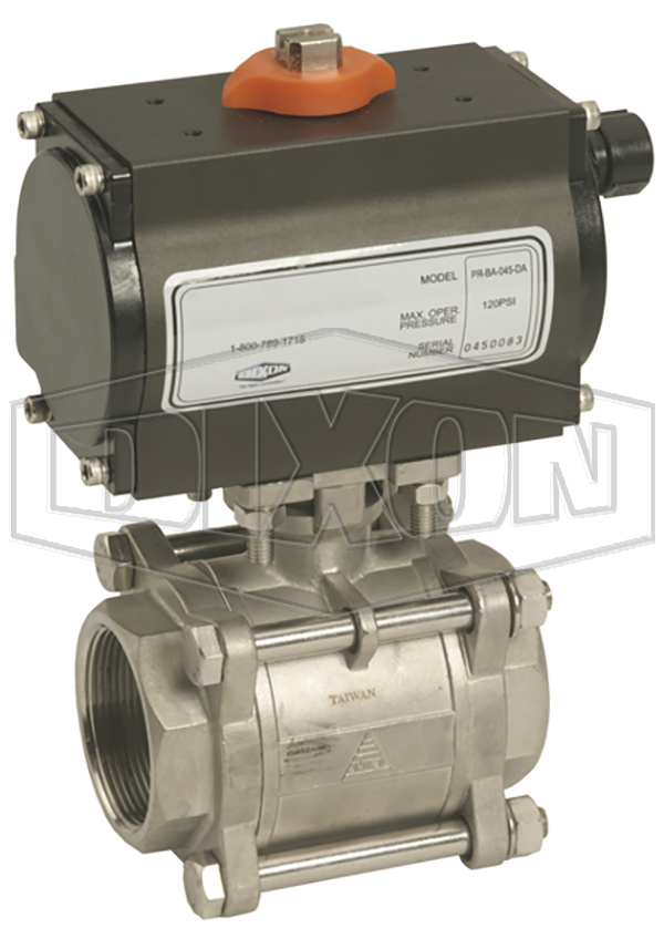 BV2IGN Series Pneumatically Actuated Stainless Steel Ball Valves 3-Piece
