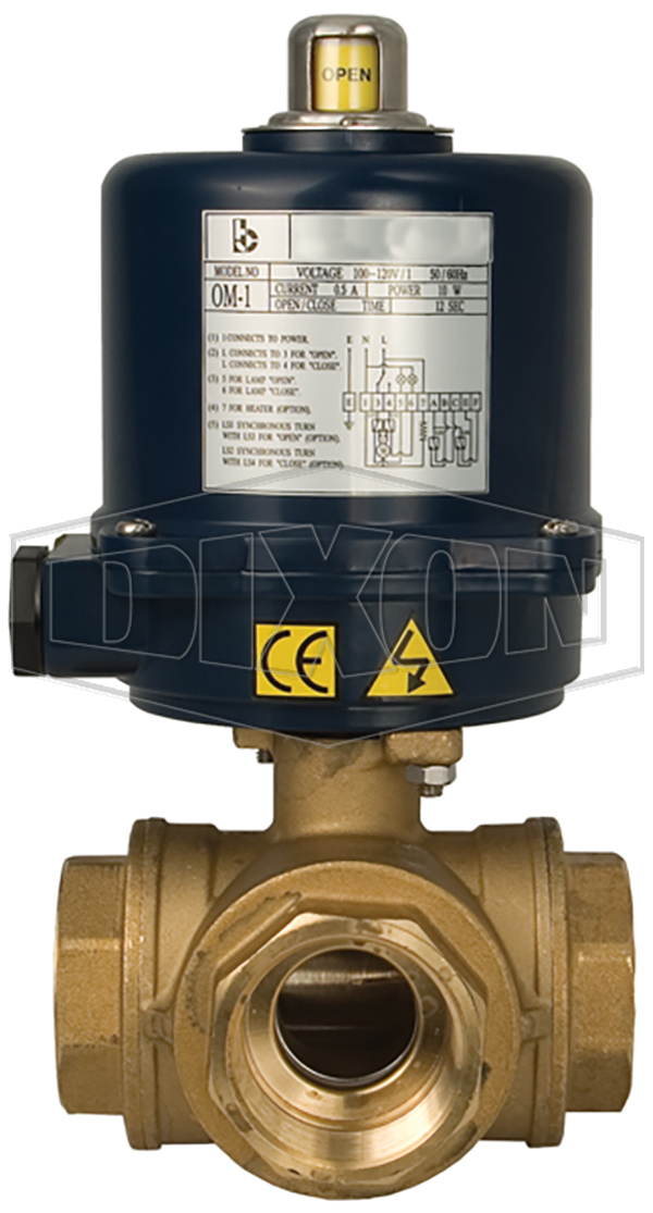 electrically actuated 3 way brass ball valves t and l port