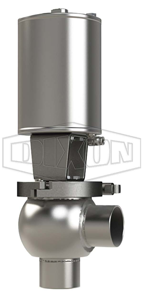 SSV Series Single Seat Valve, Shut-Off L Body, Weld, Spring Return Actuator (Air-To-Raise)