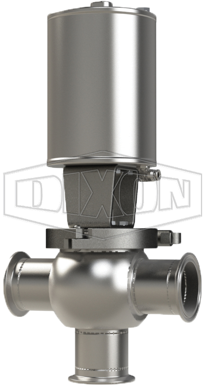 SSV Series Single Seat Valve, Shut-Off T Body, Clamp, Spring Return Actuator (Air-To-Raise)